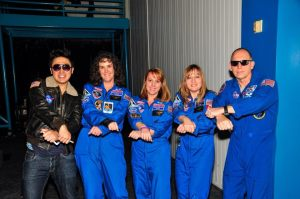 Blue Flight Suit fun with fellow Honeywell teachers Jacqui and Maria and astronaut Clay Anderson