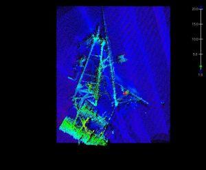 A crane discovered underwater