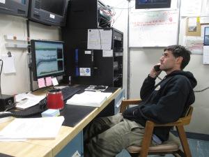 Chief Scientist Darin Jones studies the echogram