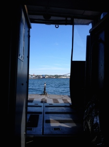 Looking out from the cabin of the launch