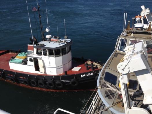 The tugboat Jaguar helping the TJ dock at Newport