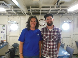 Hydrographic Survey Tech Eli Smith and I. Photo Credit: Tracey Davis
