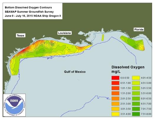 2015 Gulf Hypoxia Map