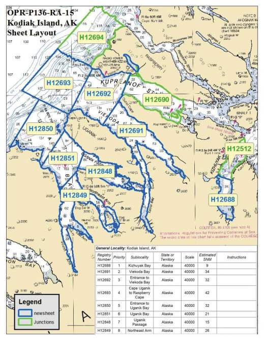 Map with NOAA sheet areas listed