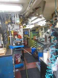 Just one of many areas the engineers work. This is an organized machine shop for repairs/fabricating.