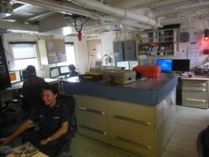 The Rainier Officers working in the Plotting Room