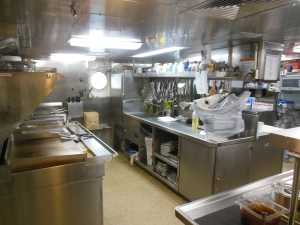 The incredibly clean and efficient galley on the Rainier