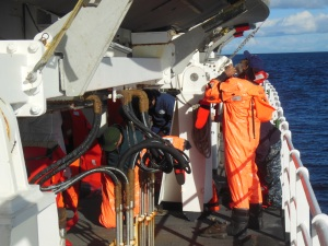 Abandon ship drills when everyone puts on their survival suits!