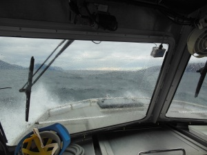 Some rough seas coming over the bow of RA6