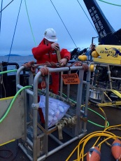 The styrofoam cups are tied to the ROV Kraken2