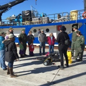 Scientist Amanda leads a tour of the Norseman II
