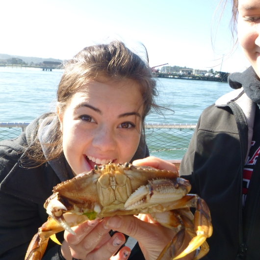 liz with a crab