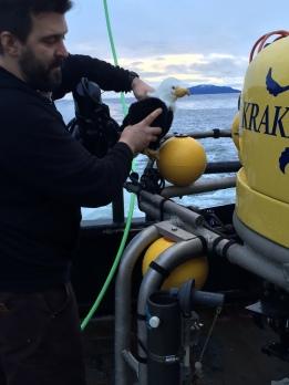 Mike shows Qanuk around the ROV