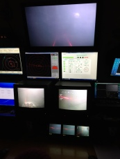 Monitors inside the ROV van