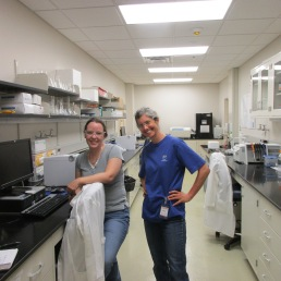 Shannara shows me her protein banding program.