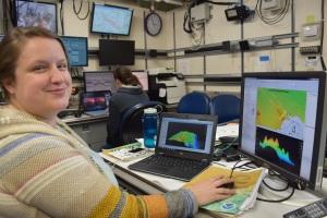 Kayla Johnson aboard NOAA Ship Bell M. Shimada