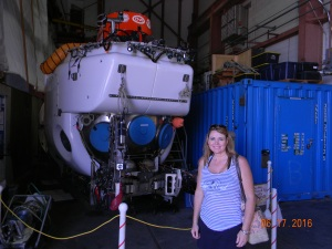Alvin the deep sea submersible in dry dock.