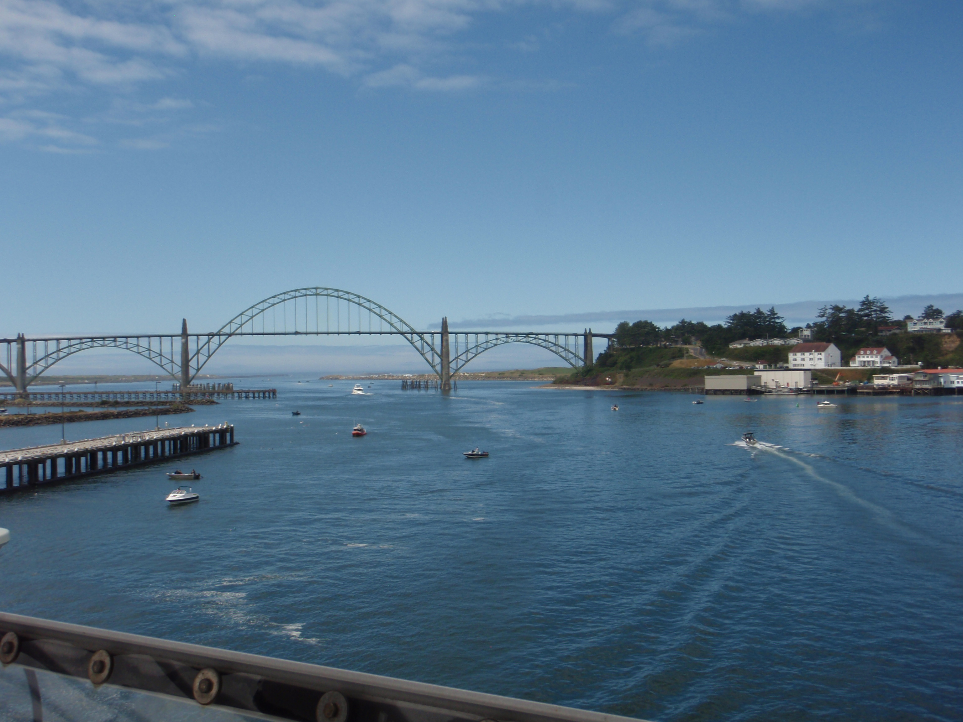 View of Newport, OR from the flying bridge of the Shimada