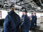 NOAA Corps on the Bridge as the Fairweather sails
