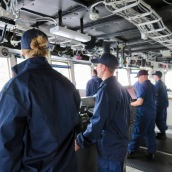 NOAA Corps on the Bridge as the Fairweather sails