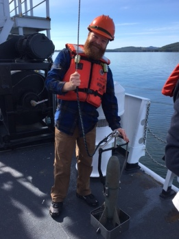 Hydrographer Drew Leonard with the CTD cast