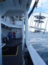 CTD being landed back on deck