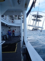 CTD being landed back on deck