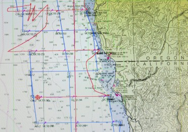 Red lines are ship path, blue lines are transects to be worked