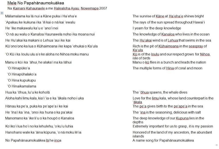 name song for papahanamoukuakea