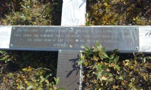 Cross commemorating Brev Mis 1918 flu victims