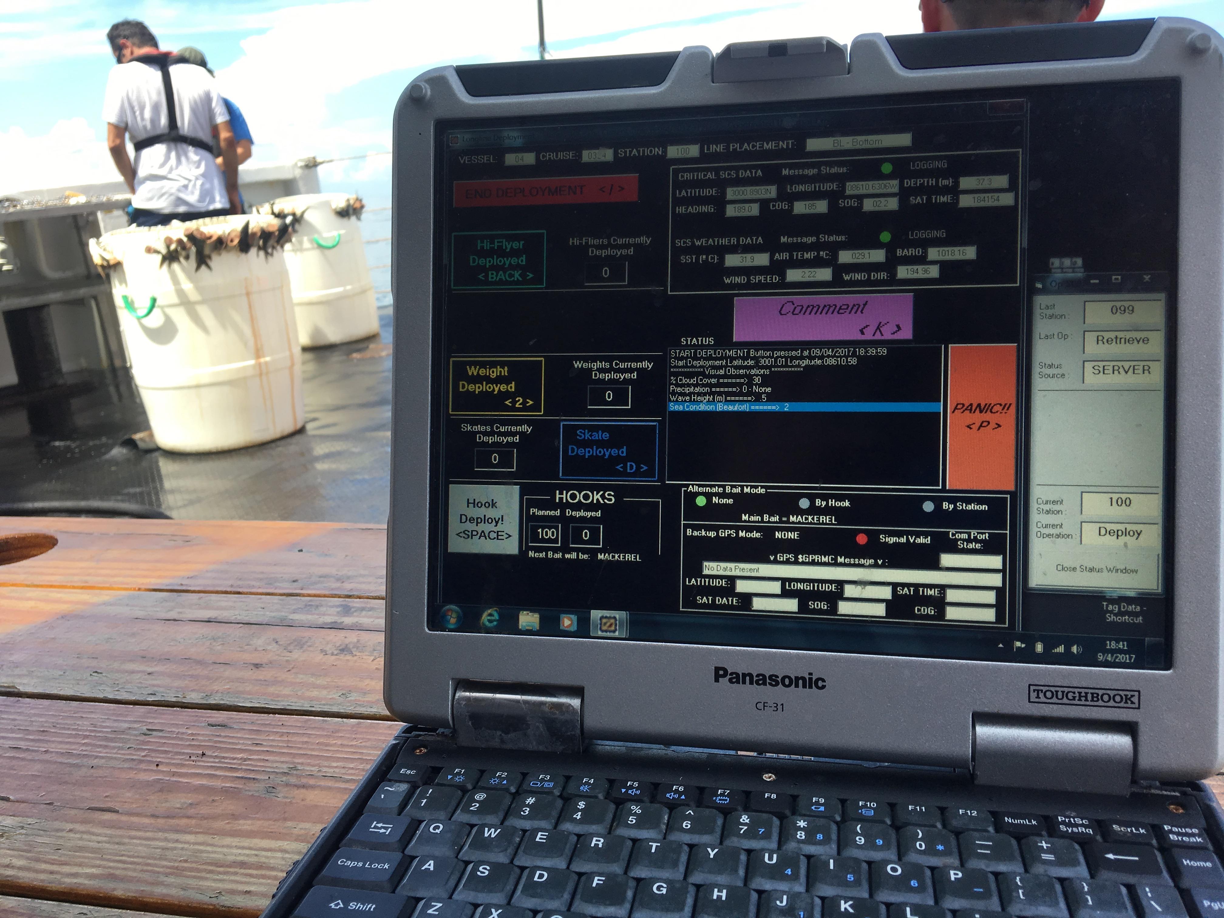 Shark Survey Noaa Teacher At Sea Blog Tas Laptop Arizona Entering Data On The Deployment Of Baited Hooks
