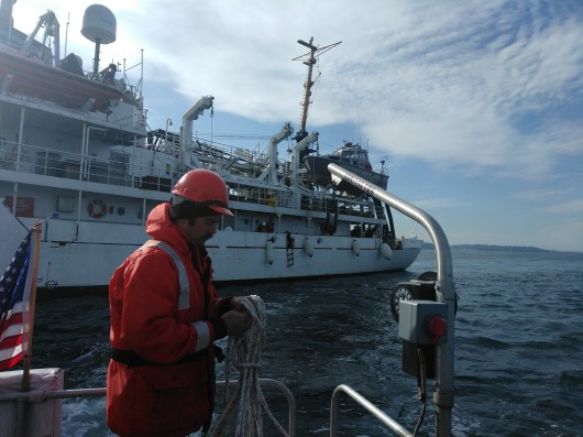 The HIC Readies the Launch as We Pull Away from NOAA Ship Fairweather