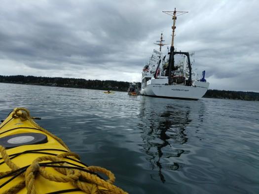 Approaching Fairweather in Kayaks