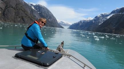 Me on boat in Endicott Fjord, Dawes Glacier