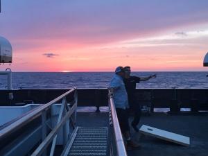 Cornhole at sunset
