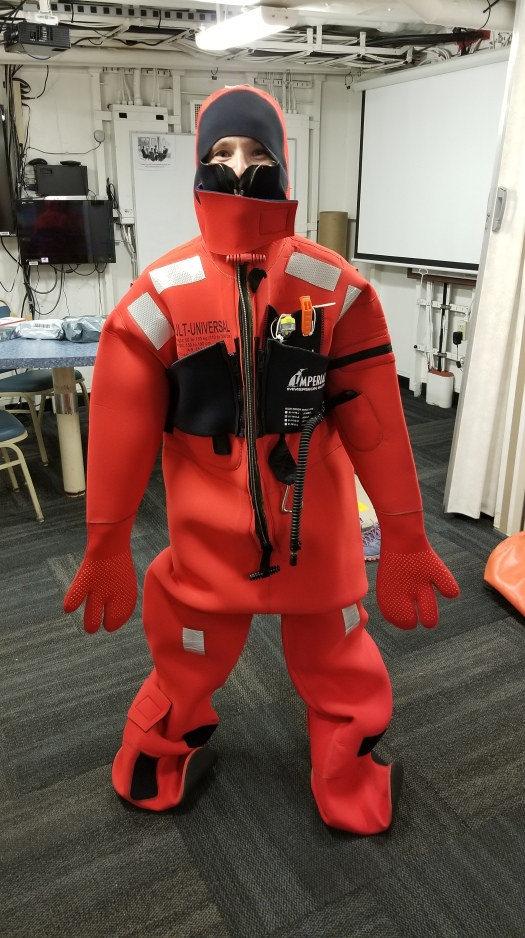 (Picture of me in immersion suit kindly taken by ENS Lawler)