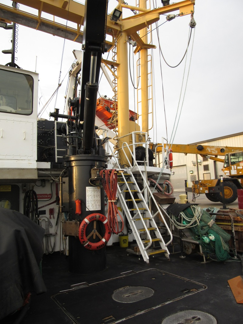 Trawling machinery on the deck of Oregon II