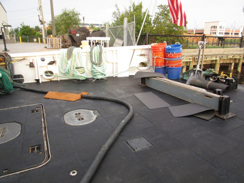 """""""Deck lab"""", Fish from the trawl nets are dumped before moving into the wet lab"""