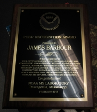 A recent award to James Barbour for his work with NOAA