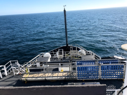 The bow of NOAA Ship Oscar Dyson taken from the Flying Bridge.