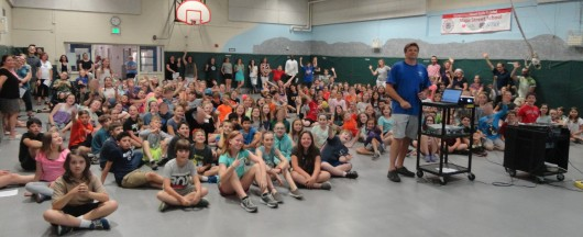 Above are the students of Maple Street during the end of year assembly. The Maple Street School is located in the village of Contoocook in the town of Hopkinton New Hampshire. The school is composed of students in grades 4-6 grade and approximately 210 students.