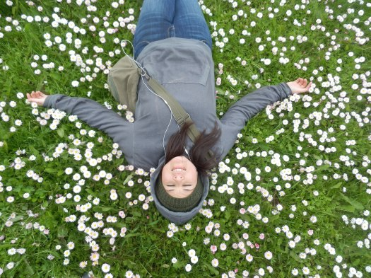 Karla Martinez, Tourist, off duty in field of flowers, Unalaska, AK.