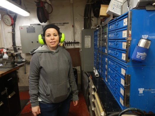 Karla Martinez, Junior Unlicensed Engineer, on duty on the Oscar Dyson.
