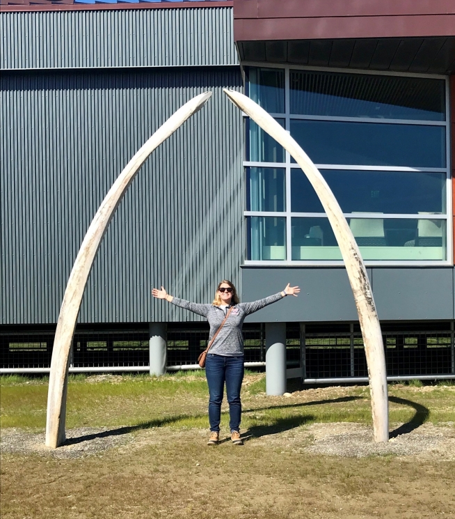Two whale ribs at the entrance of the Carrie McLain Museum in downtown Nome