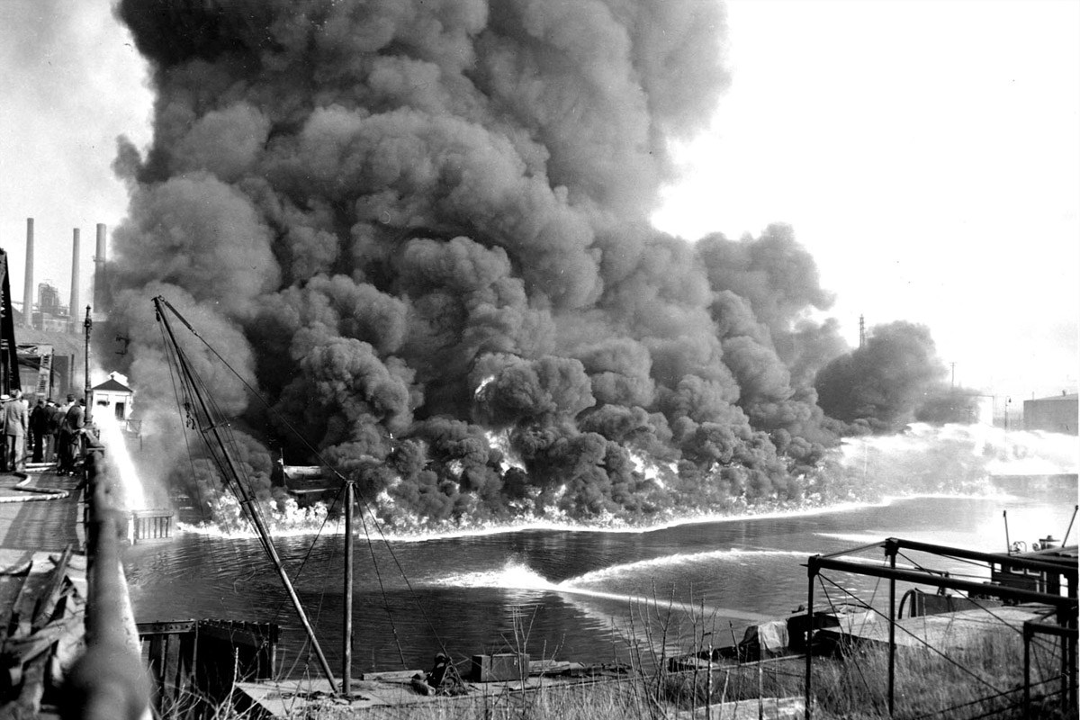 The Cuyahoga River that runs through Cleveland, OH caught fire over a dozen times. This fire in 1969 finally motivated action towards creating the Clean Water Act.