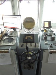 Oregon II's bridge uses many of the original instrumentation it was built with such as this steering wheel.