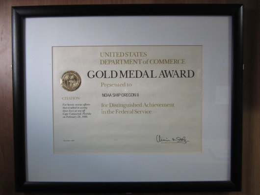 NOAA Ship Oregon II earned the Gold Medal Award in 1998 for rescuing three people off of the coast of Florida.