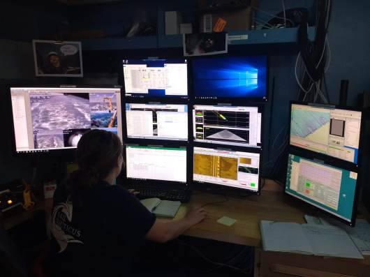 Julia Wallace, a physical scientist, works at the sonar acquisition station. This requires a large amount of multitasking as she communicates with the bridge (ship steering deck), watches the safety cameras, and makes sure both sonar devices are working correctly.