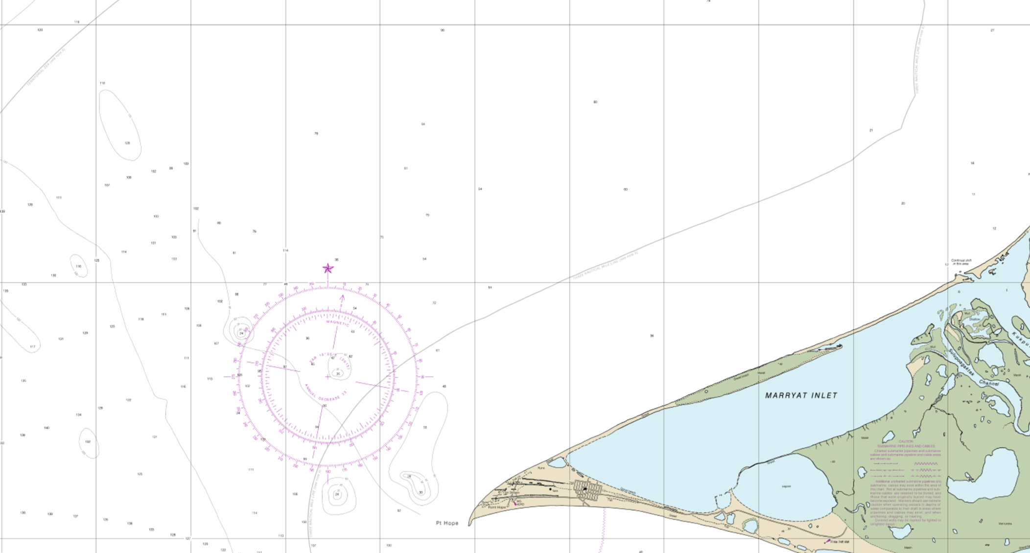 Section of NOAA's Point Hope to Cape Dyer Nautical Chart