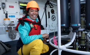 Scientist Carina Fish collects samples from CTD